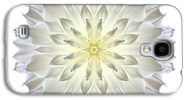 David J Bookbinder Galaxy S4 Cases - Giant White Dahlia I Flower Mandala White Galaxy S4 Case by David J Bookbinder