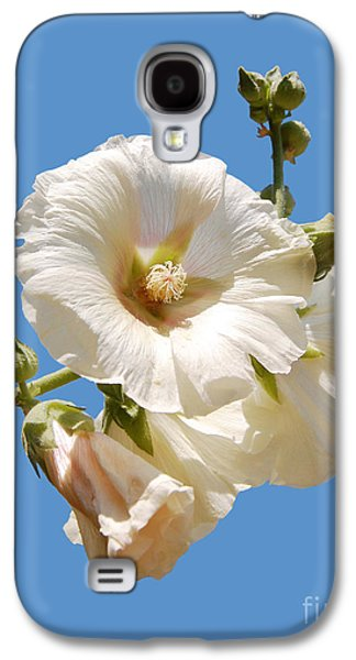 Althea Galaxy S4 Cases - White hollyhock isolated on blue Galaxy S4 Case by Susan Montgomery