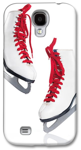 Ice-skating Galaxy S4 Cases - White ice skates with red laces Galaxy S4 Case by Oleksiy Maksymenko