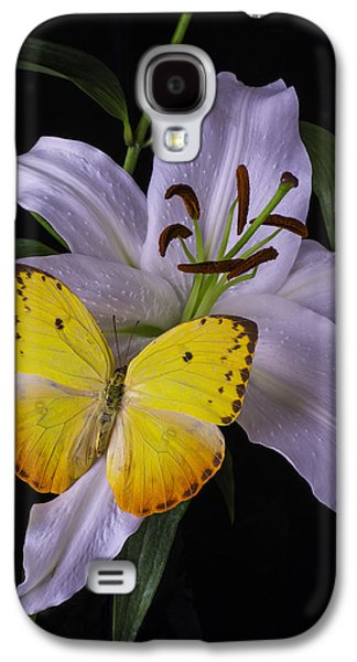 Filament Galaxy S4 Cases - White Lily With Yellow Butterfly Galaxy S4 Case by Garry Gay