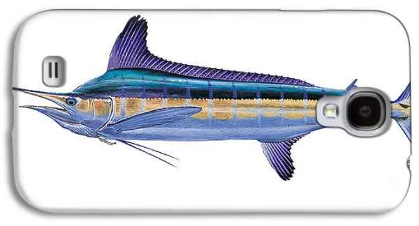 Striped Marlin Galaxy S4 Cases - White Marlin Galaxy S4 Case by Carey Chen