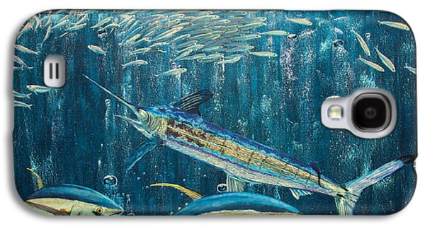 Striped Marlin Galaxy S4 Cases - White Marlin original oil painting 24x36in on canvas Galaxy S4 Case by Manuel Lopez