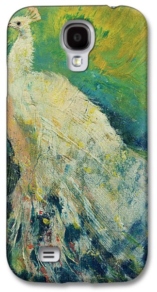 Abstract Nature Galaxy S4 Cases - White Peacock Galaxy S4 Case by Michael Creese