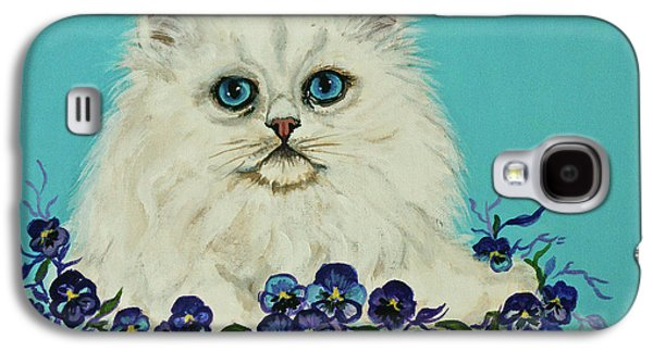 Bobcats Digital Galaxy S4 Cases - White Persian in Pansy Patch Galaxy S4 Case by  Bob and Nadine Johnston