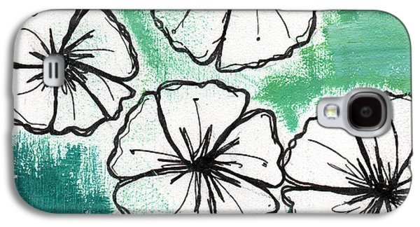Drawing Galaxy S4 Cases - White Petunias- Floral Abstract Painting Galaxy S4 Case by Linda Woods