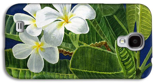 Colored Pencil Paintings Galaxy S4 Cases - White Plumeria Flowers with Blue Background Galaxy S4 Case by Sharon Freeman