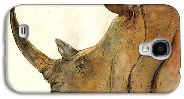Nature Study Paintings Galaxy S4 Cases - White rhino head study Galaxy S4 Case by Juan  Bosco