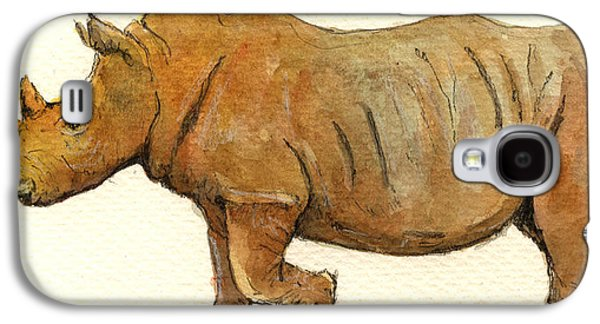 Rhinoceros Paintings Galaxy S4 Cases - White Rhino Galaxy S4 Case by Juan  Bosco