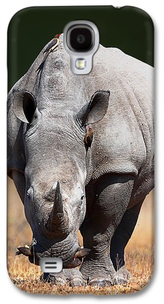 Camera Galaxy S4 Cases - White Rhinoceros  front view Galaxy S4 Case by Johan Swanepoel