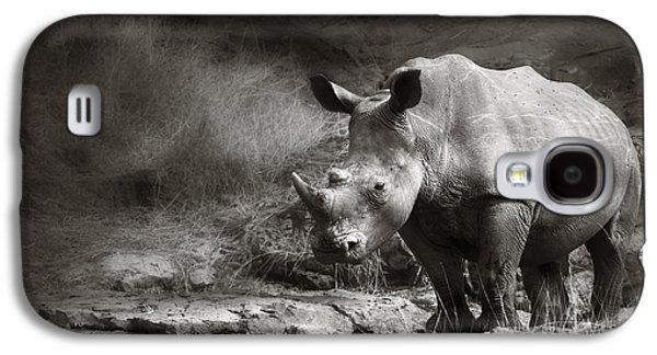 Solitude Photographs Galaxy S4 Cases - White Rhinoceros Galaxy S4 Case by Johan Swanepoel
