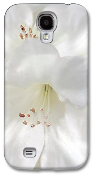 Rhododendron Galaxy S4 Cases - White Rhododendron Flowers Galaxy S4 Case by Jennie Marie Schell