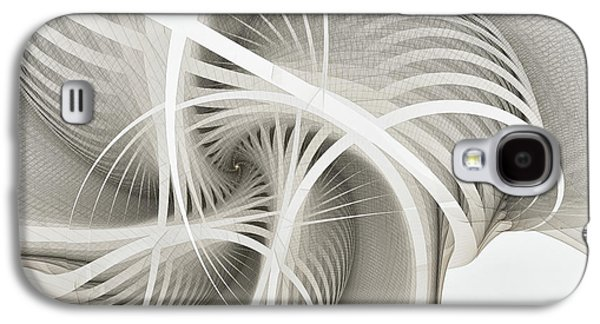 Mathematical Design Galaxy S4 Cases - White Ribbons Spiral Galaxy S4 Case by Karin Kuhlmann