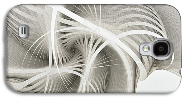 Fractal Image Galaxy S4 Cases - White Ribbons Spiral Galaxy S4 Case by Karin Kuhlmann