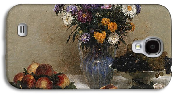 White Roses And Chrysanthemums Galaxy S4 Case by Ignace Henri Jean Fantin-Latour