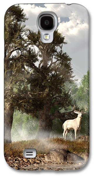 Harts Galaxy S4 Cases - White Stag on a Misty Morning Galaxy S4 Case by Daniel Eskridge