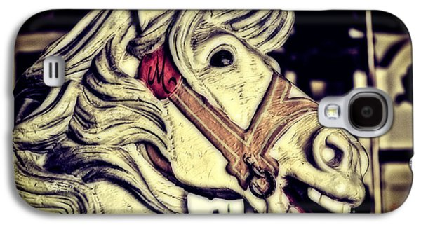White Steed - Antique Carousel Galaxy S4 Case by Colleen Kammerer