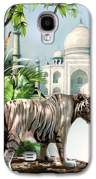 Historical Buildings Galaxy S4 Cases - White Tiger and the Taj Mahal Image of Beauty Galaxy S4 Case by Gina Femrite