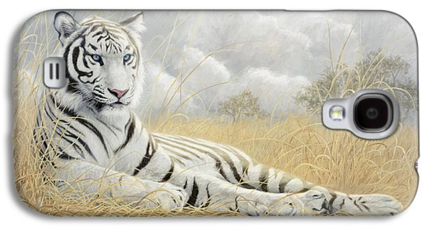 White Tiger Galaxy S4 Case by Lucie Bilodeau
