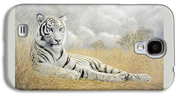 Tiger Galaxy S4 Cases - White Tiger Galaxy S4 Case by Lucie Bilodeau