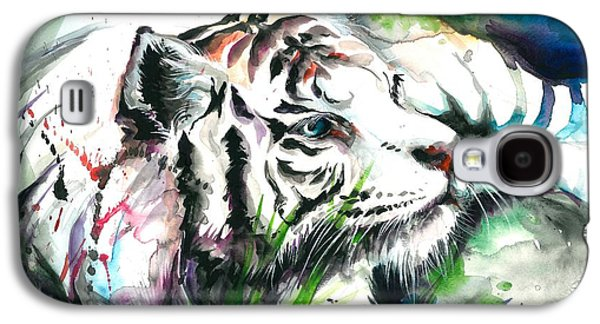 Het Paintings Galaxy S4 Cases - White Tiger Resting Galaxy S4 Case by Tiberiu Soos