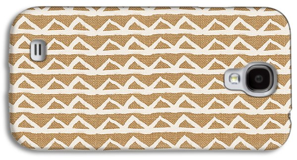 White Triangles On Burlap Galaxy S4 Case by Linda Woods