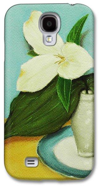 White Pastels Galaxy S4 Cases - White Trillium Galaxy S4 Case by Anastasiya Malakhova