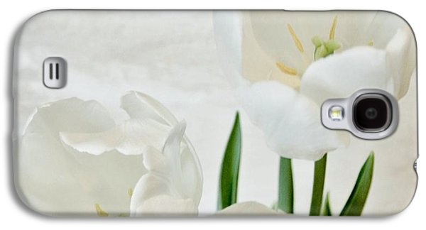 Green Posters Digital Galaxy S4 Cases - White Tulips Inside Galaxy S4 Case by Marsha Heiken