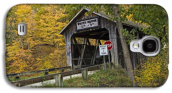 Old Roadway Galaxy S4 Cases - Whites Covered Bridge on the Flat River No.0333 Galaxy S4 Case by Randall Nyhof