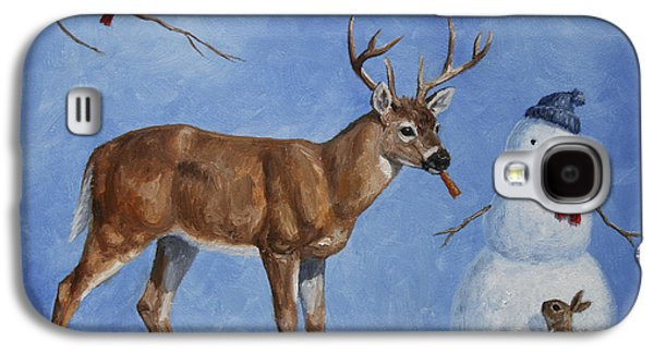 Christmas Cards Galaxy S4 Cases - Whitetail Deer and Snowman - Whose Carrot? Galaxy S4 Case by Crista Forest