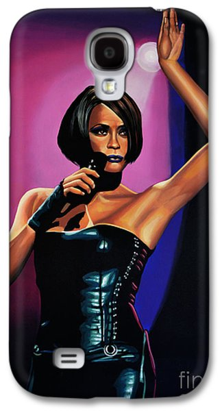 Soul Paintings Galaxy S4 Cases - Whitney Houston On Stage Galaxy S4 Case by Paul Meijering