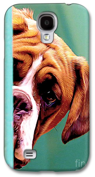 Puppy Digital Art Galaxy S4 Cases - Whos There Galaxy S4 Case by Larry Espinoza