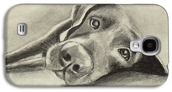 Chocolate Lab Digital Art Galaxy S4 Cases - Why are you waking me up? Galaxy S4 Case by Marcello Cicchini