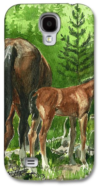 Saving Paintings Galaxy S4 Cases - Wild Alberta mare and Foal Galaxy S4 Case by Linda L Martin