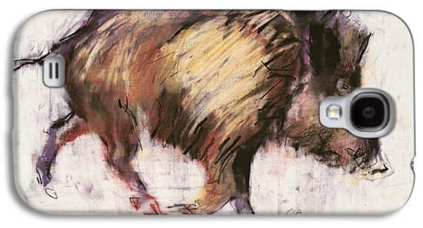 Tusk Galaxy S4 Cases - Wild Boar Trotting, 1999 Graphite, Conte And Charcoal On Paper Galaxy S4 Case by Mark Adlington