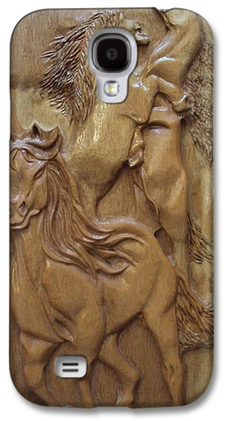 Horse Reliefs Galaxy S4 Cases - Wild Horses equine sculpture wood carving Galaxy S4 Case by Ton Dias