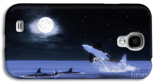 Whale Digital Art Galaxy S4 Cases - Wild Orcas Galaxy S4 Case by Methune Hively