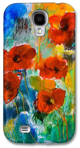Colorful Abstract Galaxy S4 Cases - Wild Poppies Galaxy S4 Case by Elise Palmigiani