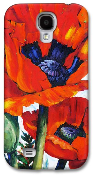 Painter Mixed Media Galaxy S4 Cases - Wild Poppies - Floral Art By Betty Cummings Galaxy S4 Case by Betty Cummings