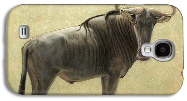 Nature Drawings Galaxy S4 Cases - Wildebeest Galaxy S4 Case by James W Johnson
