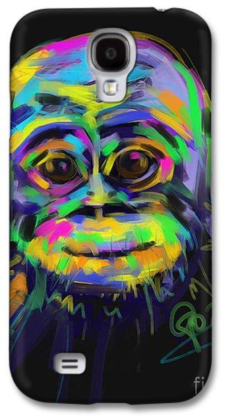 Ape Digital Art Galaxy S4 Cases - Wildlife baby chimp Galaxy S4 Case by Go Van Kampen