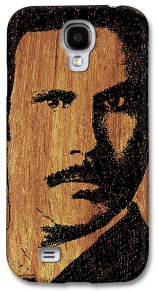Satire Mixed Media Galaxy S4 Cases - Will Ferrell Anchorman Ron Burgundy On Simulated Simulated Wood Galaxy S4 Case by Tony Rubino