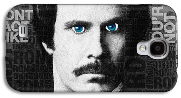 Satire Mixed Media Galaxy S4 Cases - Will Ferrell Anchorman The Legend of Ron Burgundy Words Black and White Galaxy S4 Case by Tony Rubino
