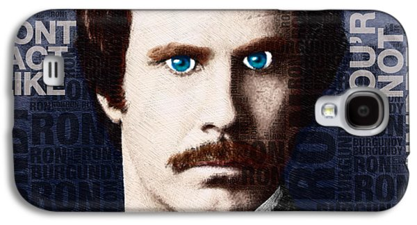 Satire Mixed Media Galaxy S4 Cases - Will Ferrell Anchorman The Legend of Ron Burgundy Words Color Galaxy S4 Case by Tony Rubino