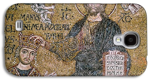 Jesus Photographs Galaxy S4 Cases - William Ii 1154-89 King Of Sicily Receiving A Crown From Christ Mosaic Galaxy S4 Case by Byzantine School
