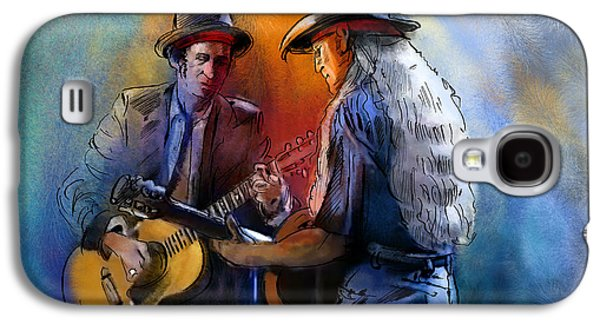 Keith Richards Galaxy S4 Cases - Willie Nelson and Keith Richards Galaxy S4 Case by Miki De Goodaboom