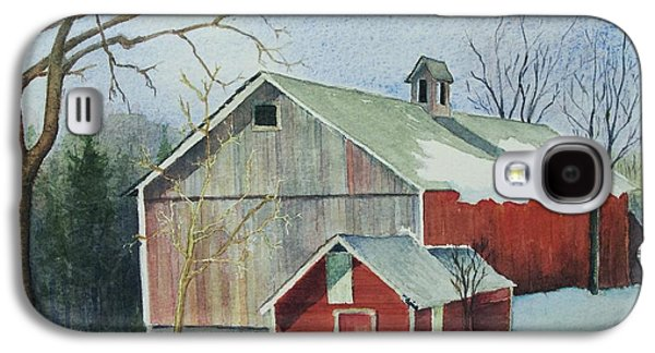 New England Snow Scene Paintings Galaxy S4 Cases - Williston Barn Galaxy S4 Case by Mary Ellen  Mueller Legault