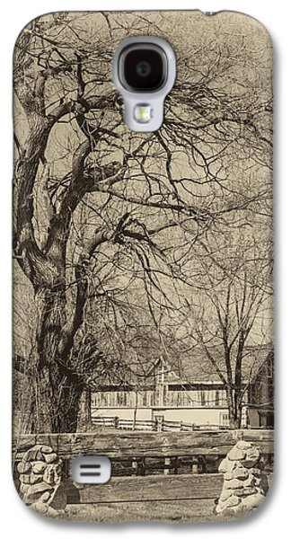 Building Metal Prints Galaxy S4 Cases - Willow and Barn sepia Galaxy S4 Case by Steve Harrington