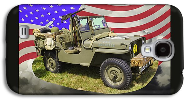 Army Digital Art Galaxy S4 Cases - Willys World War Two Army Jeep And American Flag Galaxy S4 Case by Keith Webber Jr