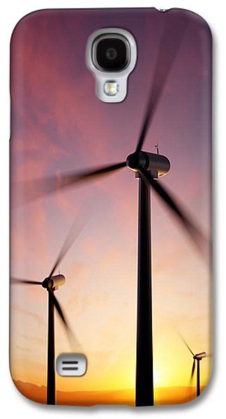 Equipment Galaxy S4 Cases - Wind Turbine blades spinning at sunset Galaxy S4 Case by Johan Swanepoel