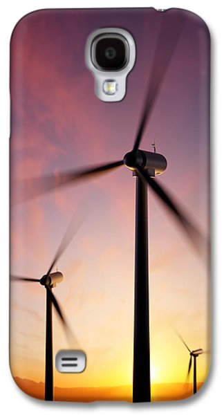 Industrial Digital Galaxy S4 Cases - Wind Turbine blades spinning at sunset Galaxy S4 Case by Johan Swanepoel